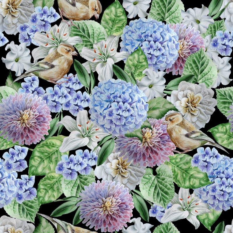 картина цветков птиц безшовная hydrangea Поднял Лилия петунья изображение иллюстрации летания клюва декоративное своя бумажная ак иллюстрация штока