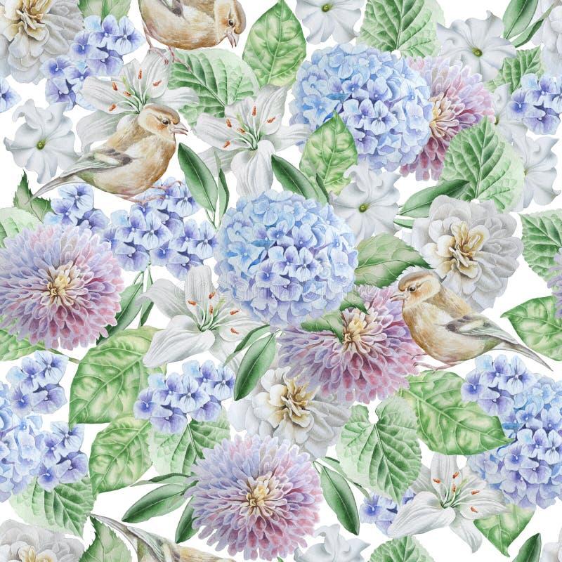 картина цветков птиц безшовная hydrangea Поднял Лилия петунья изображение иллюстрации летания клюва декоративное своя бумажная ак бесплатная иллюстрация