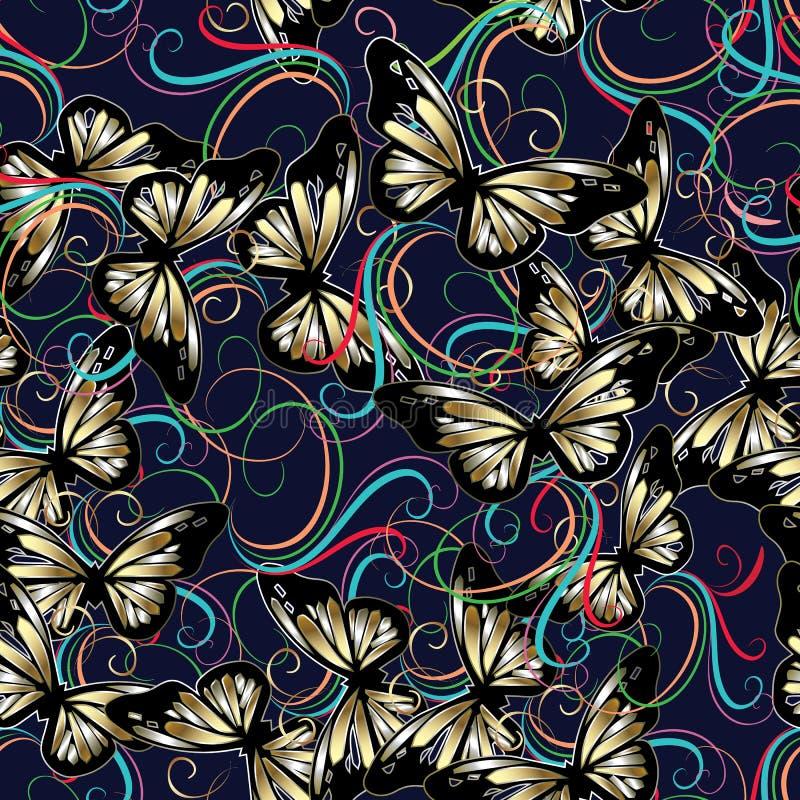 картина цветков 3d и бабочек seaamless бесплатная иллюстрация