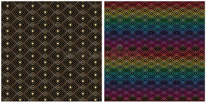 Картина цветного барьера золота симметрии формы диаманта безшовная иллюстрация штока