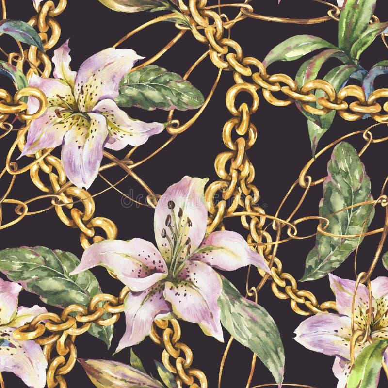 Картина цепей и колец золота акварели безшовная с белыми королевскими лилиями, элементами моды винтажными роскошными иллюстрация вектора