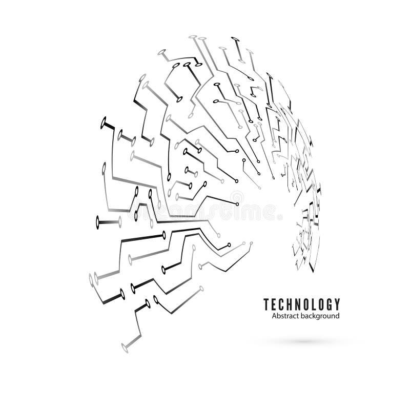Картина цепи Предпосылка круга монтажной платы абстрактной технологии Иллюстрация вектора изолированная на белизне бесплатная иллюстрация