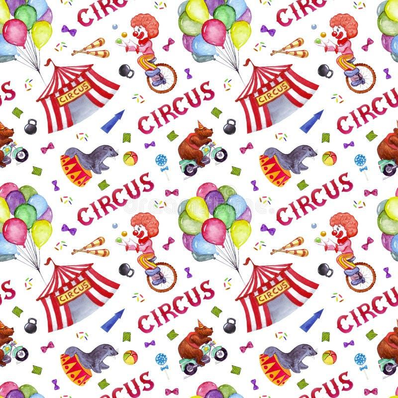 Картина цирка акварели безшовная иллюстрация штока