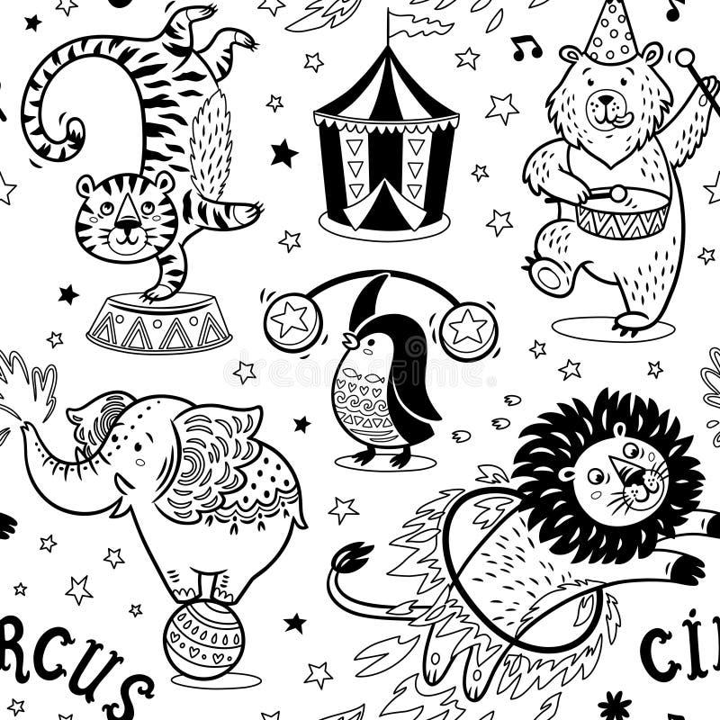 Картина цирка безшовная Предпосылка контура вектора иллюстрация штока