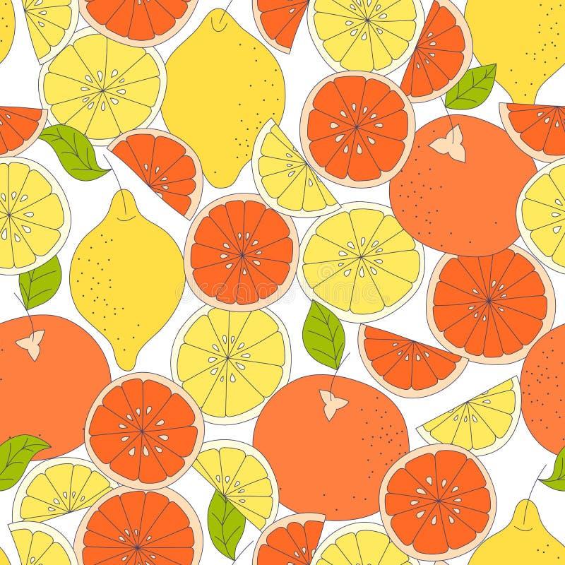 картина цитруса безшовная Предпосылка вектора плодоовощ Красочная предпосылка с лимоном и апельсином естественное еды здоровое бесплатная иллюстрация