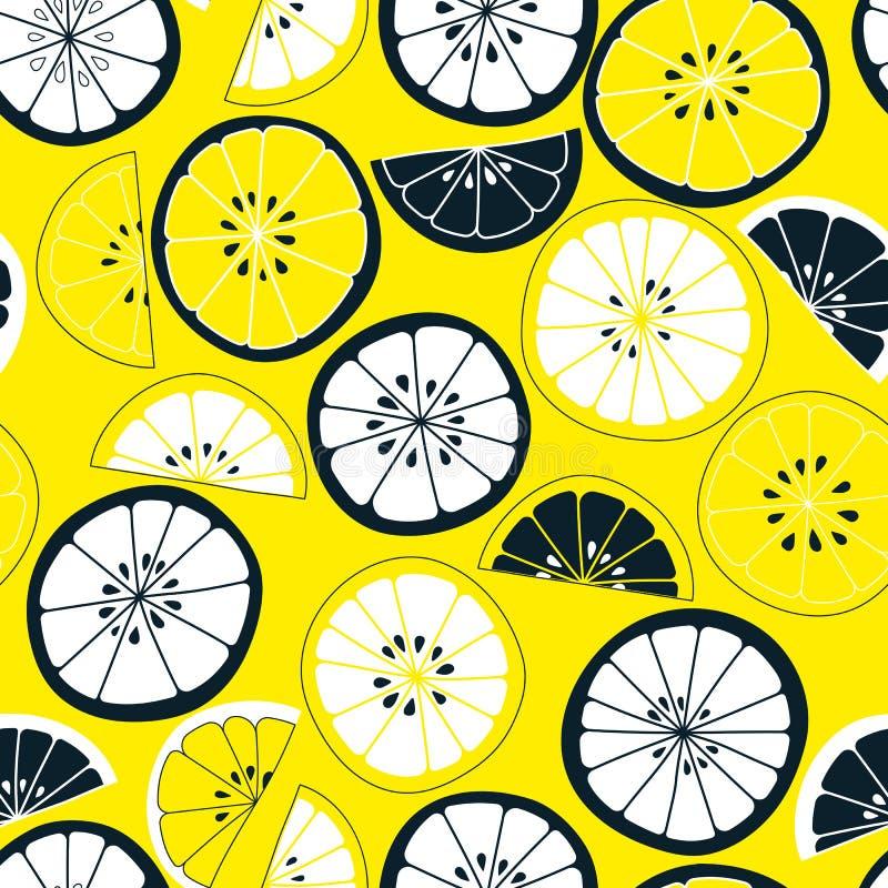 картина цитруса безшовная Предпосылка вектора плодоовощ Красочная предпосылка с лимоном и апельсином естественное еды здоровое иллюстрация штока