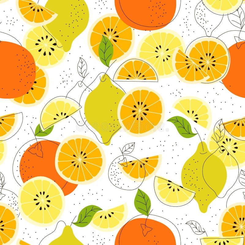 картина цитруса безшовная Предпосылка вектора плодоовощ Красочная предпосылка с лимоном и апельсином естественное еды здоровое иллюстрация вектора