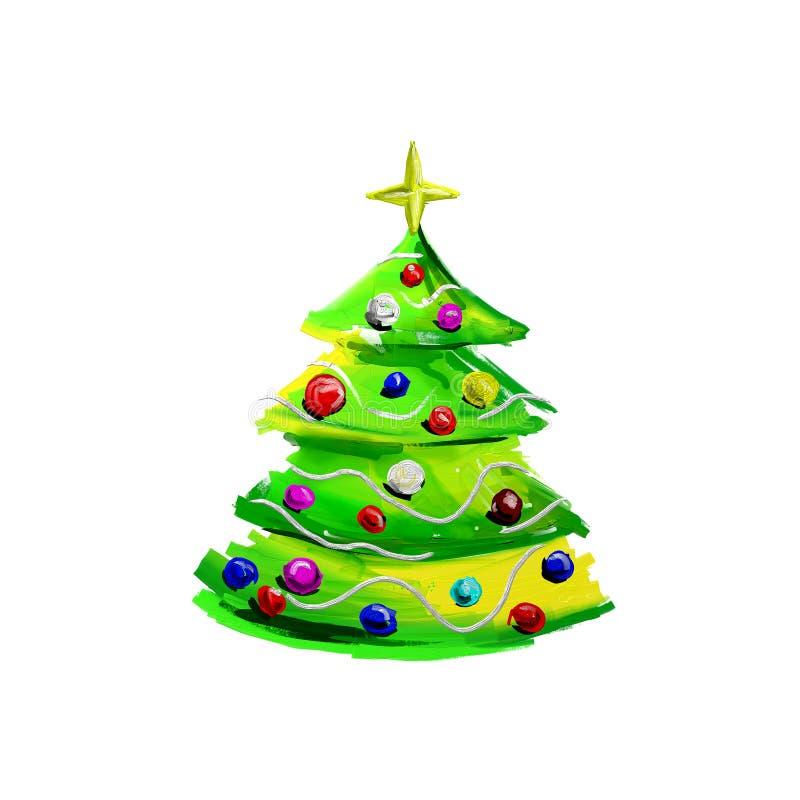 Картина цифров рождественской елки иллюстрация вектора