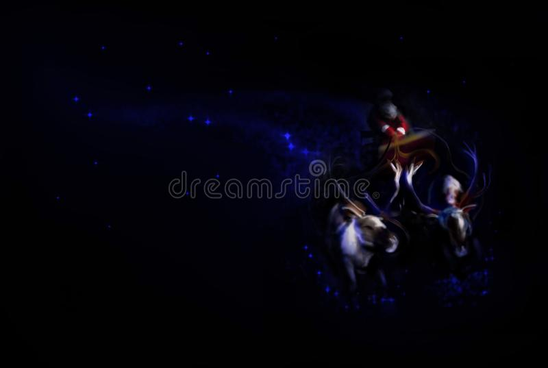 Картина цифров Санта Клауса летая на санях иллюстрация штока