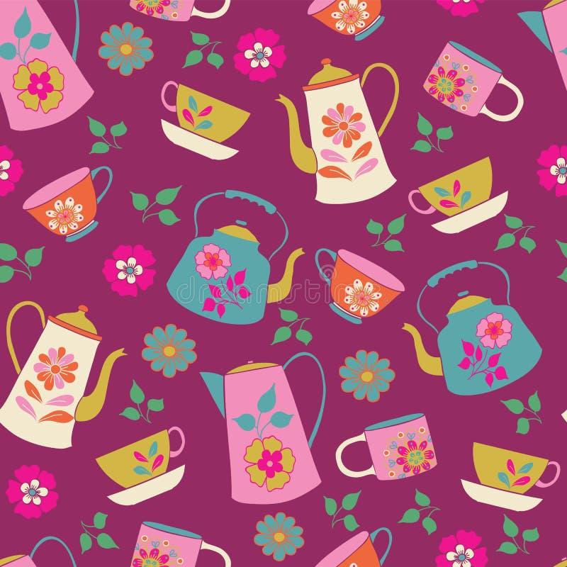 Картина чаепития сада безшовная иллюстрация вектора