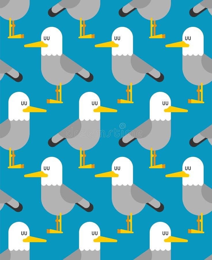 Картина чайки безшовная предпосылка птицы чайки Illustrat вектора иллюстрация штока