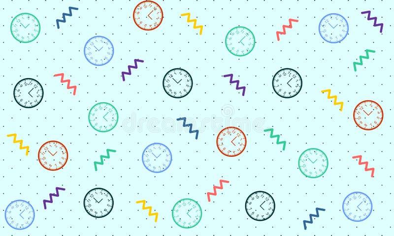 Картина часов со стилем Мемфиса - вектором бесплатная иллюстрация