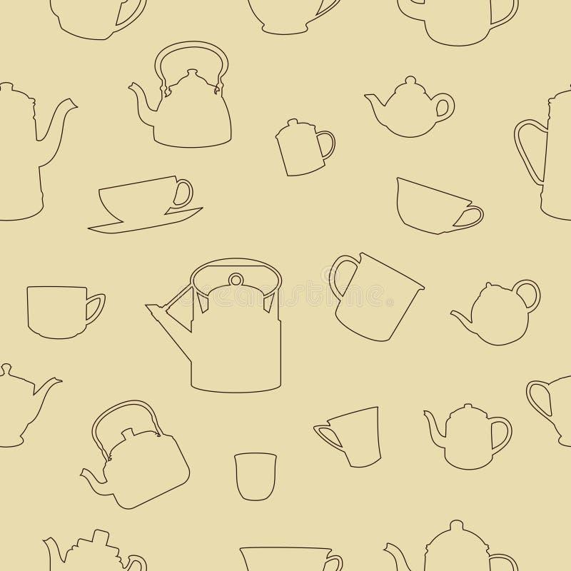 Картина чашек и баков безшовная иллюстрация вектора