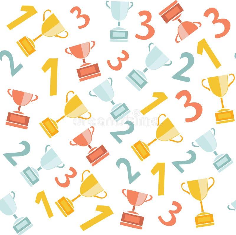 Картина чашек чемпионов Top-3 безшовная иллюстрация вектора