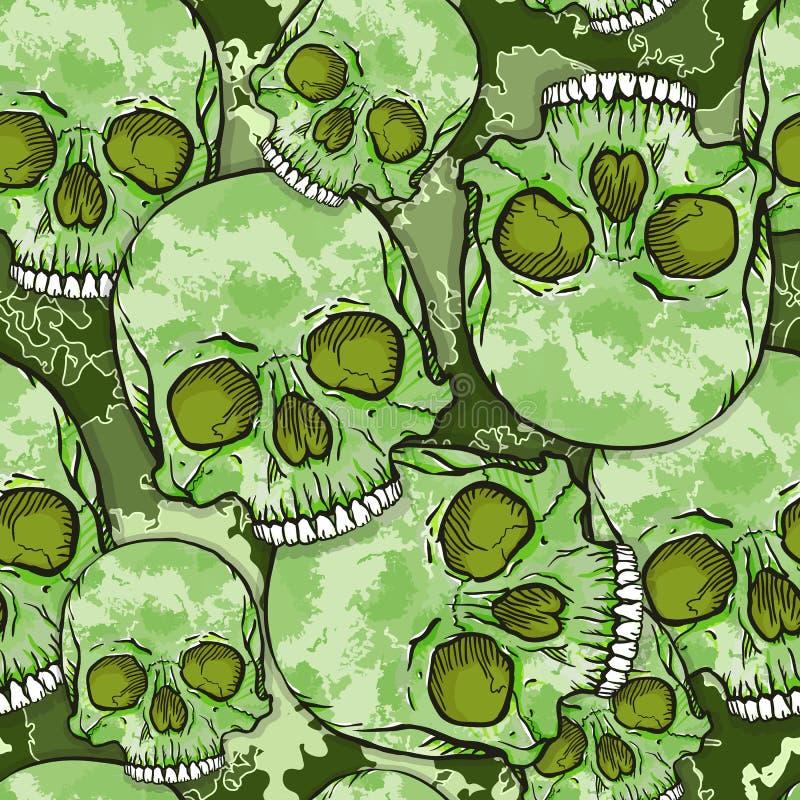 Картина черепа камуфлирования. иллюстрация штока