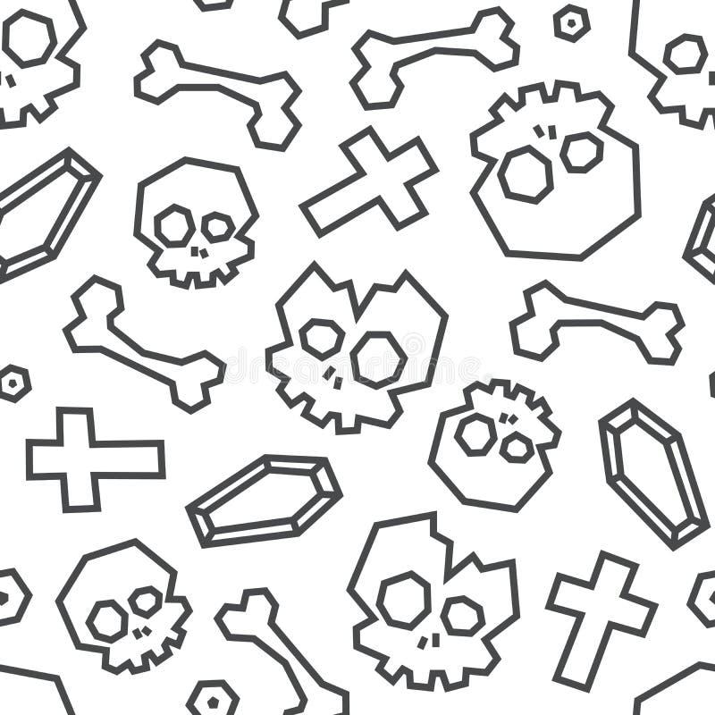 Картина черепов и косточек низко поли безшовная Голубой цвет на белой предпосылке бесплатная иллюстрация