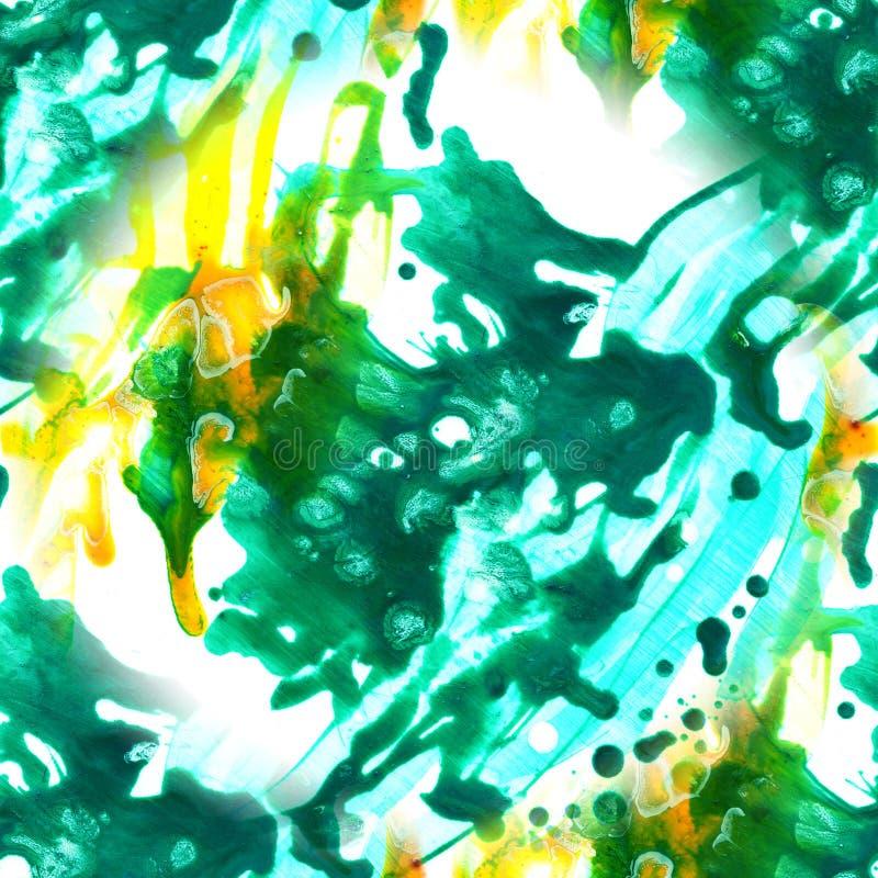 Картина чернил конспекта безшовная с акриловой рукой искусства покрасила предпосылку Пятна акварели Мытье акварели иллюстрация вектора