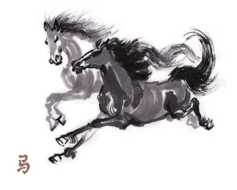 Картина чернил лошади восточная, sumi-e иллюстрация вектора