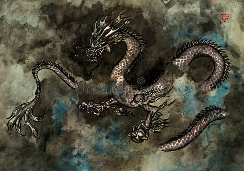 Картина чернил дракона стоковые изображения