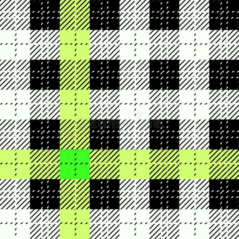 Картина черного, желтого, зеленого и белого тартана проверки текстуры ткани безшовная также вектор иллюстрации притяжки corel EPS иллюстрация штока