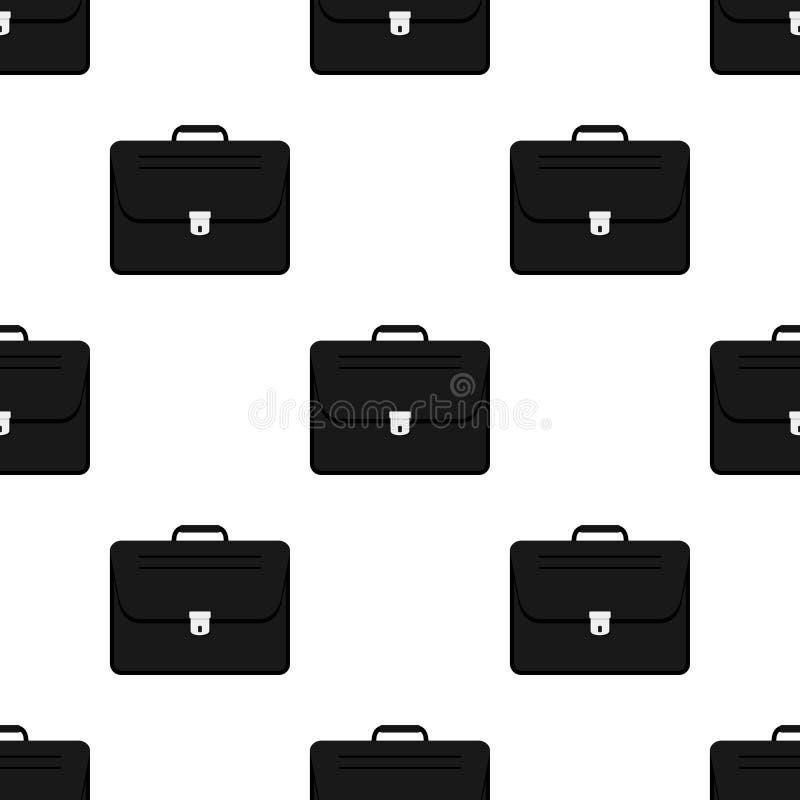 Картина черного значка сумки школы безшовная иллюстрация вектора