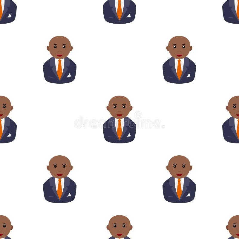 Картина черного облыселого бизнесмена безшовная иллюстрация штока