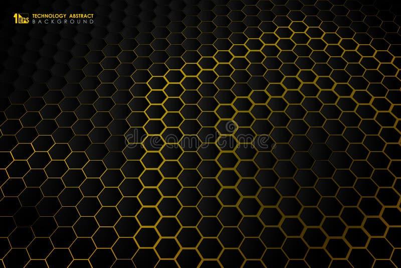 Картина черноты градиента технологии конспекта шестиугольная футуристическая на желтой предпосылке r бесплатная иллюстрация