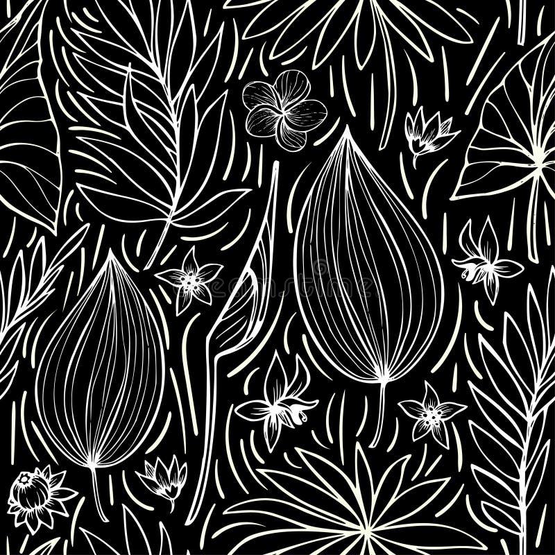 Картина черно-белого вектора безшовная красивая художническая яркая тропическая с лист, флористическим лета первоначально стильно иллюстрация вектора