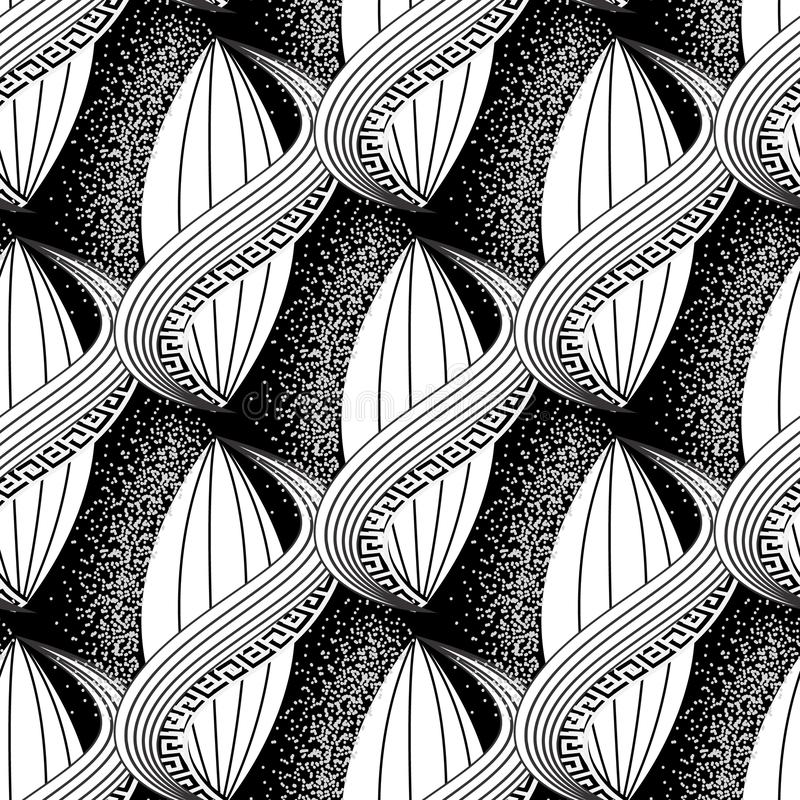 Картина черно-белого вектора конспекта греческая безшовная Современная орнаментальная предпосылка полутонового изображения Повтор бесплатная иллюстрация