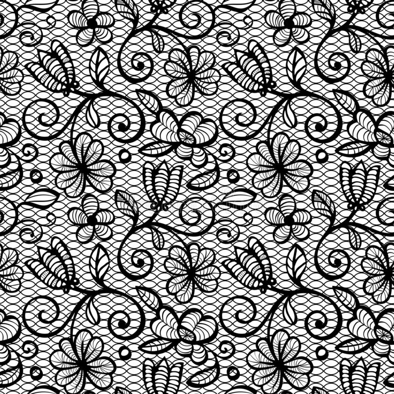 Картина черно-белого шнурка безшовная стоковые изображения rf