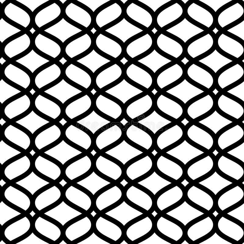 Картина черно-белой геометрической морокканской решетки конспекта орнамента безшовная, вектор иллюстрация вектора