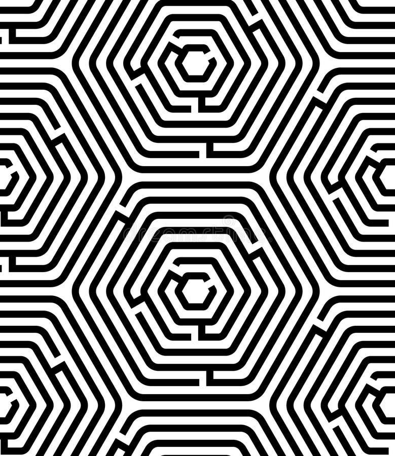 Картина черно-белой головоломки лабиринта шестиугольника геометрическая безшовная, вектор иллюстрация вектора