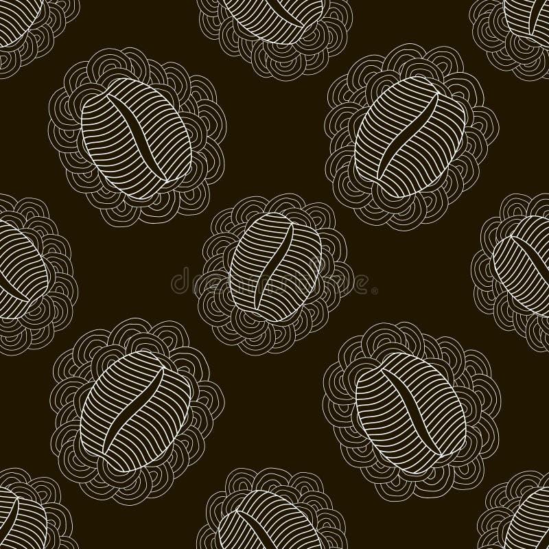 Картина черно-белого кофе безшовная иллюстрация штока