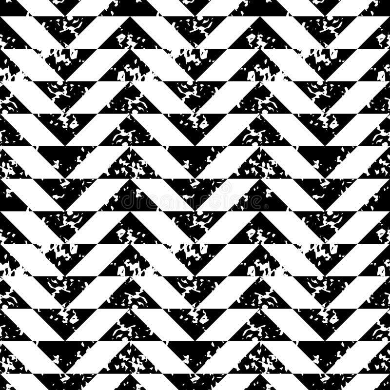 Картина черно-белого grunge треугольников печати губки геометрического безшовная, вектор иллюстрация штока