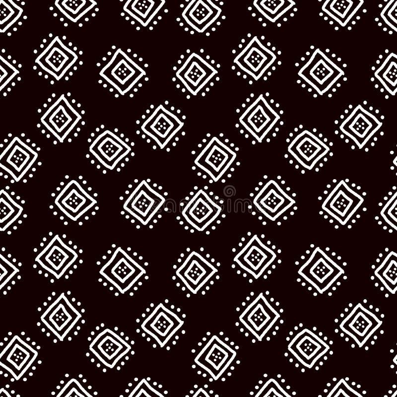 Картина черно-белой простой африканской ткани mudcloth безшовная, вектор иллюстрация вектора
