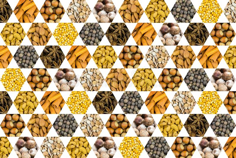 Картина чокнутых специй фундука анакардии кокоса и зерна мозоли желтеют значок сота на белой предпосылке стоковая фотография