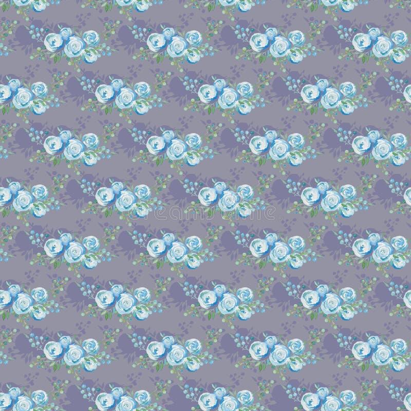 Картина чувствительных голубых роз безшовная, букет цветков, иллюстрация акварели Дизайн ткани иллюстрация вектора