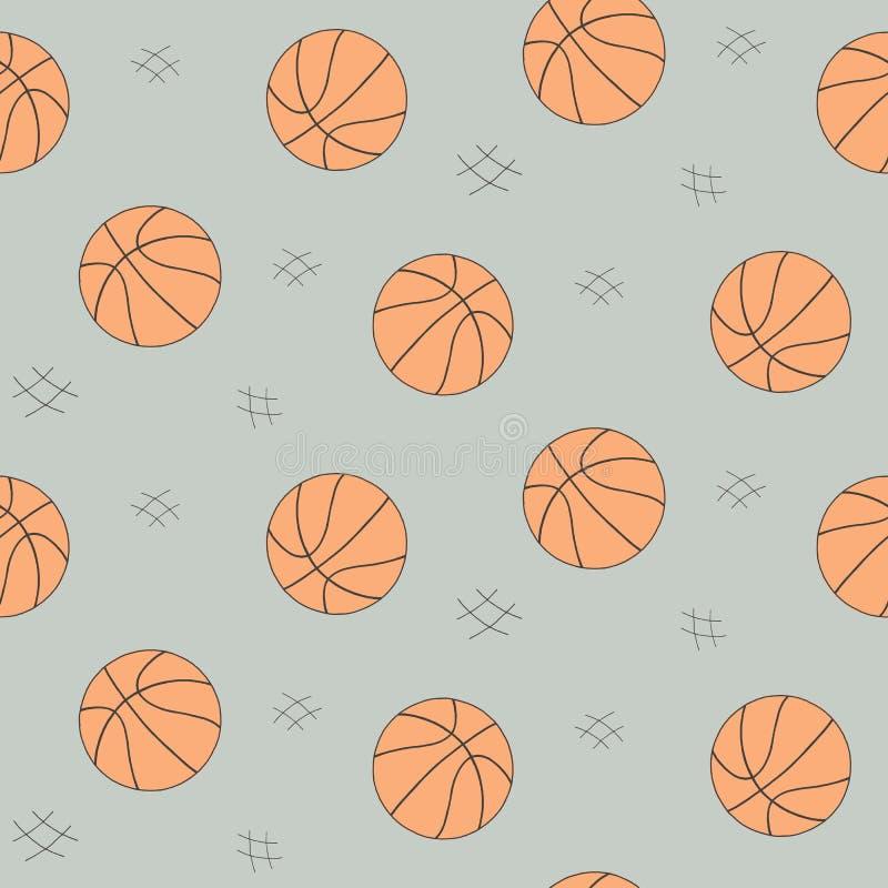 Картина шарика баскетбола безшовная для предпосылки, сети, элементов стиля Эскиз нарисованный рукой Собрание вектора спорта иллюстрация штока