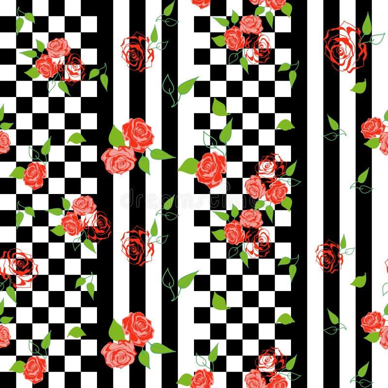 Картина шахматной доски безшовная с флористическим орнаментом роз иллюстрация вектора