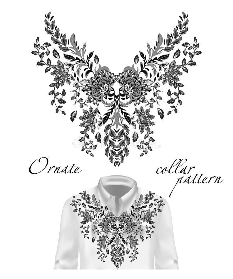 Картина шеи цветков вышивки вектора этническая Голубой носить моды графиков дизайна цветка Представленный на белой рубашке бесплатная иллюстрация