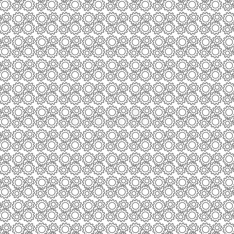Картина шестерни безшовная от черных линий контура Illustrat вектора иллюстрация штока