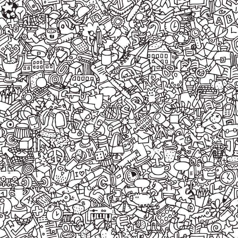 Картина школы безшовная в черно-белом бесплатная иллюстрация