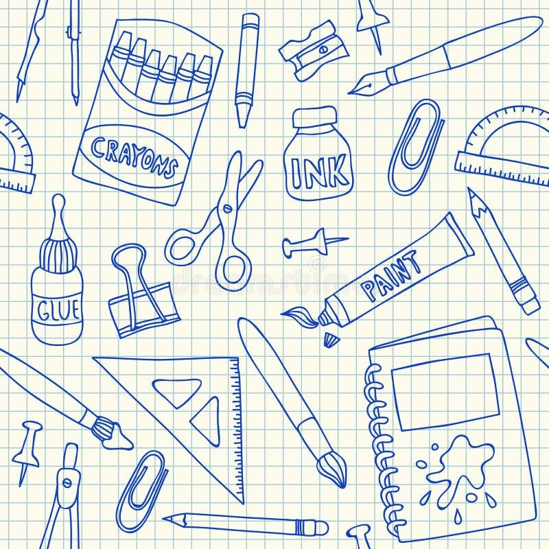 Картина школьных принадлежностей безшовная бесплатная иллюстрация