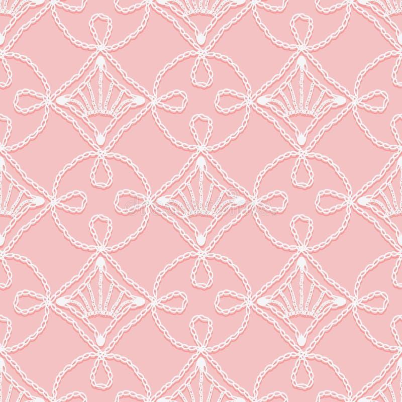 Картина шнурка безшовная петель вязания крючком Openwork белизна на розовой предпосылке иллюстрация вектора