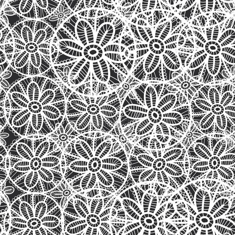 Картина шнурка безшовная с цветками и листьями черно-белая абстрактная предпосылка для места, блога, ткани вектор бесплатная иллюстрация