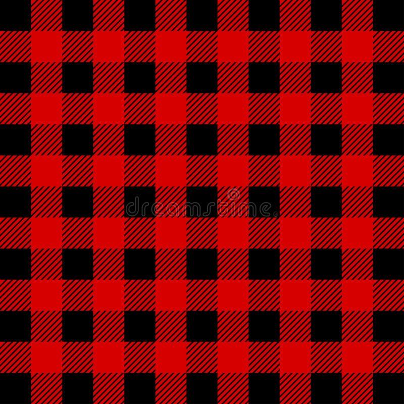 Картина шотландки буйвола Lumberjack безшовная Красный и черный Lumberjack стоковое изображение rf