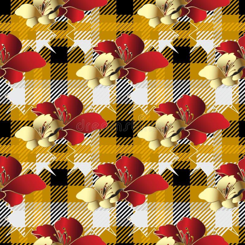 Картина шотландки тартана безшовная Striped орнаментальная флористическая предпосылка Геометрический фон проверок повторения золо бесплатная иллюстрация