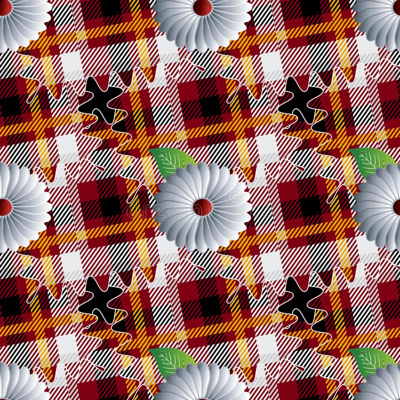 Картина шотландки тартана безшовная Striped орнаментальная флористическая предпосылка Геометрический фон проверок повторения цвет бесплатная иллюстрация