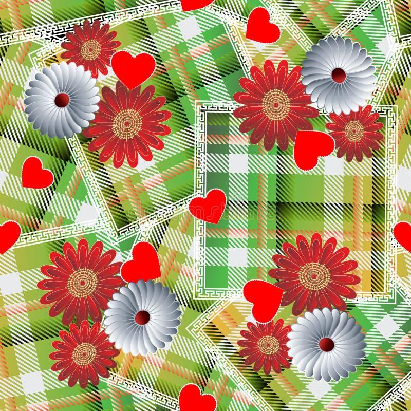 Картина шотландки тартана заплатки безшовная Striped флористическая предпосылка Геометрический фон проверок повторения цветки сто иллюстрация штока