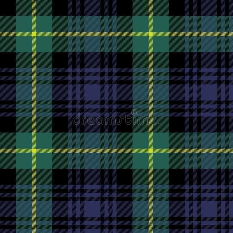 Картина шотландки текстуры ткани тартана Гордона безшовная иллюстрация вектора